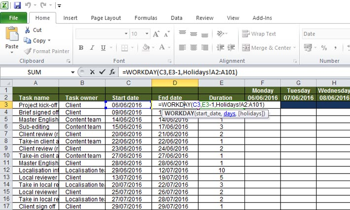 Configure your Gantt chart to take non-standard holidays into account
