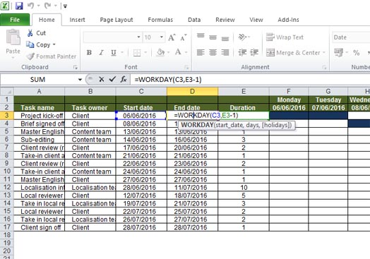Exclude non-workdays from your auto-updating Gantt chart