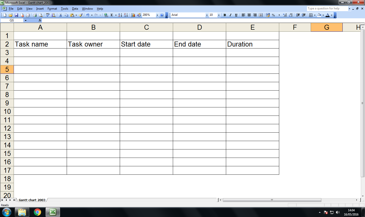 Create a Gantt chart in Excel 2003: step 1