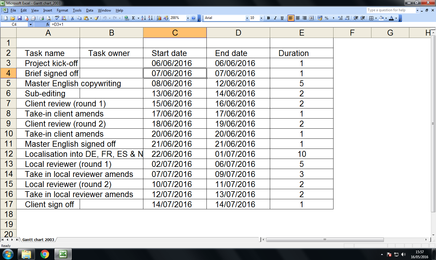 Create an auto-updating Gantt chart in Excel 2003: step 2