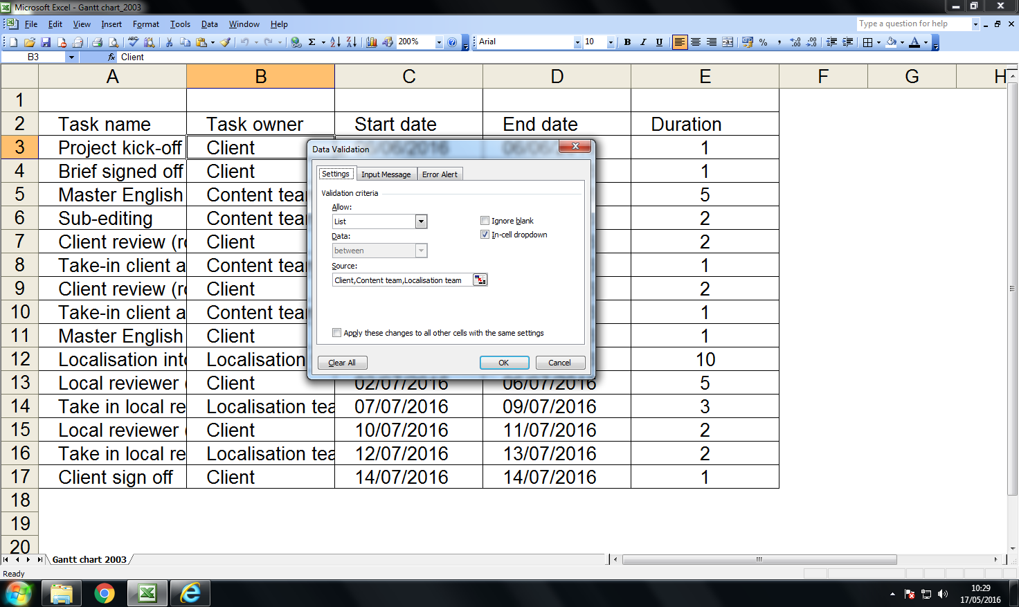 How to make a gantt chart in excel 2003 wright brown create an auto updating gantt chart in excel 2003 step 2 nvjuhfo Images