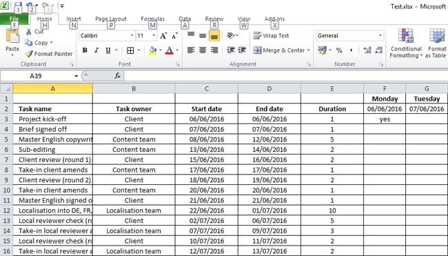 Make a Gantt chart in Excel: step 5